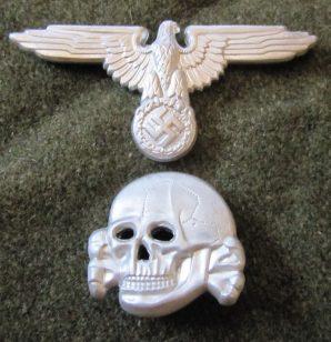 SS OFFICER CAP INSIGNIA-ALUMINUM