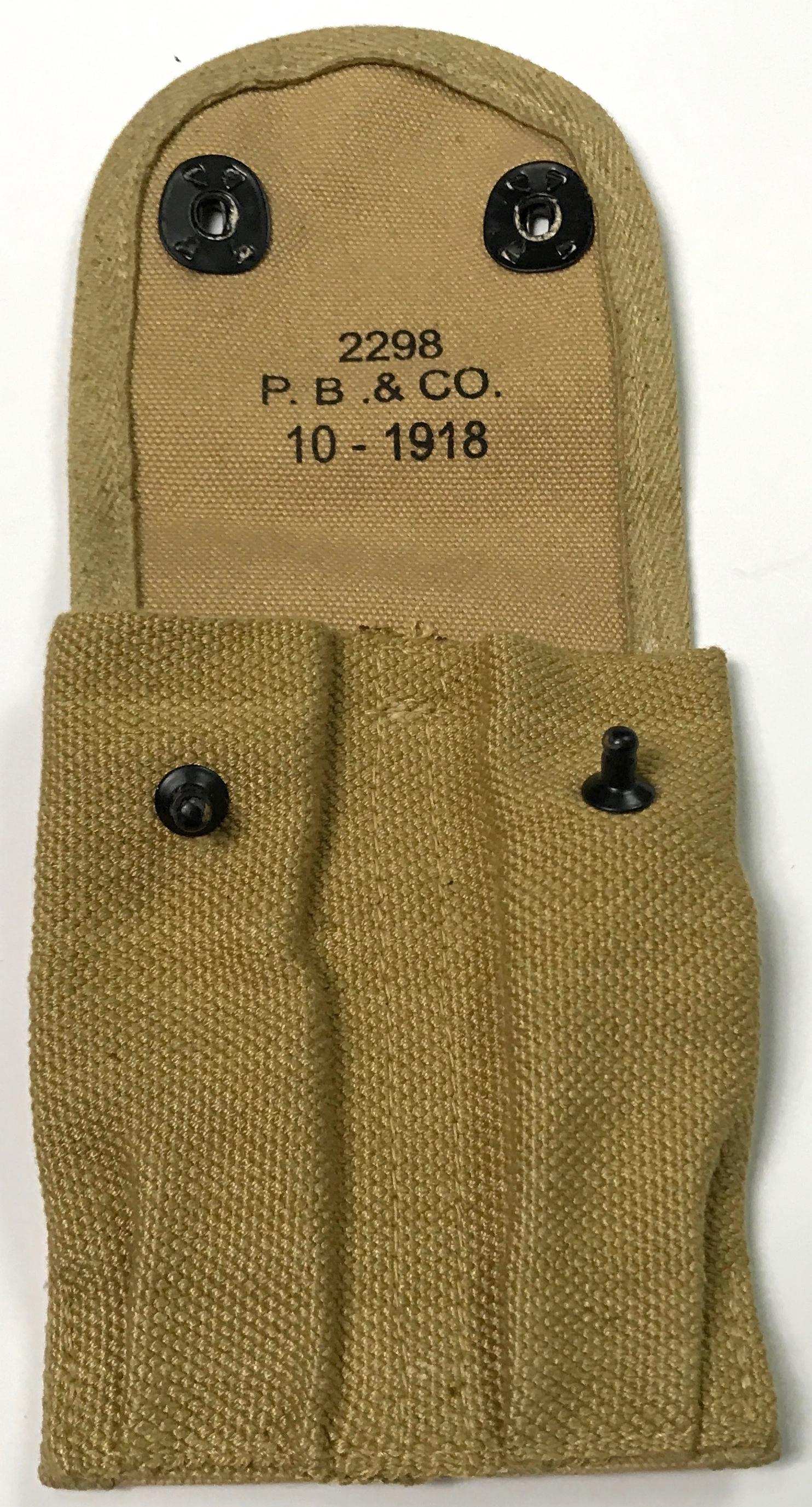 WWI WWII US M1910 .45 PISTOL MAGAZINE AMMO CARRY POUCH-OD#3