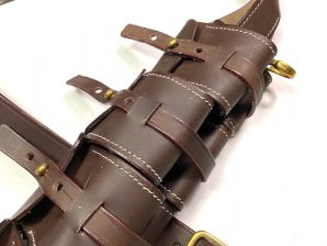 SWEDISH M1910 8MM MAUSER RIFLE LEATHER AMMO BANDOLEER