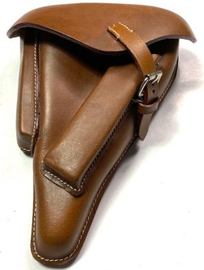 P08 UHLAN CAVALRY LUGER PISTOL HOLSTER W/ CARRY STRAP-BROWN LEATHER