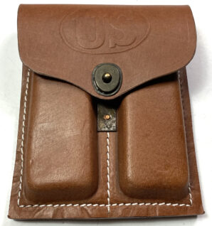 """M1911 .45 PISTOL MAGAZINE POUCH-LEATHER, """"US"""" MARKED"""
